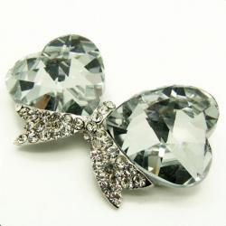 Ribbon Bow Crystal Cabochons with Rhinestones for Bling Decoration on mobile photos 3d Alloy - Clear